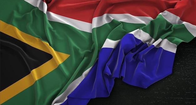 South africa flag wrinkled on dark background 3d render Free Photo