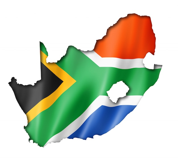 South african flag map Premium Photo