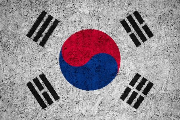 South korea flag painted on grunge wall Premium Photo