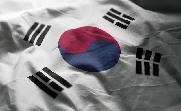 South korea flag rumpled close up Premium Photo