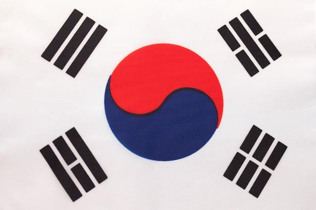South korea national fabric flag, textile background. symbol of international asian world country. Premium Photo