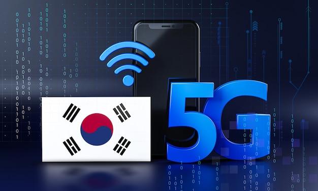 대한민국은 5g 연결 개념을 준비합니다. 3d 렌더링 스마트 폰 기술 배경 프리미엄 사진