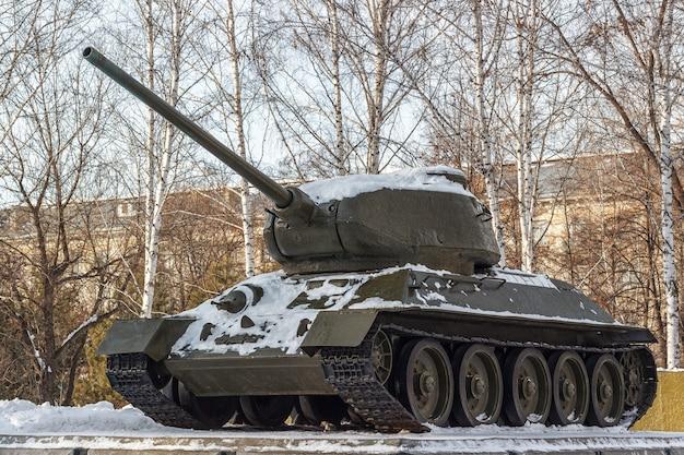 Soviet tank a monument. Premium Photo