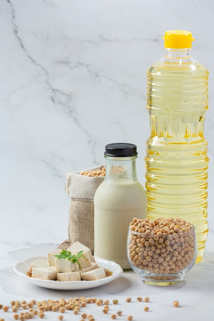 Soy milk, soy food and beverage products food nutrition concept. Free Photo