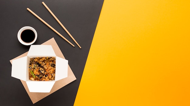 Soy sauce and chinese food Free Photo