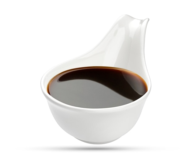 Soy sauce on white, with clipping path Premium Photo