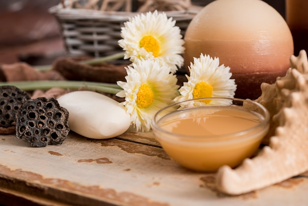 Spa Accessories With Soapchamomile Flowers Aromatherapy Candles