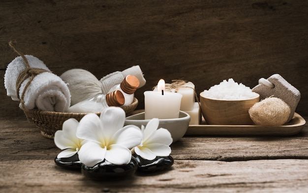 Spa and  aromatherapy products on wooden background