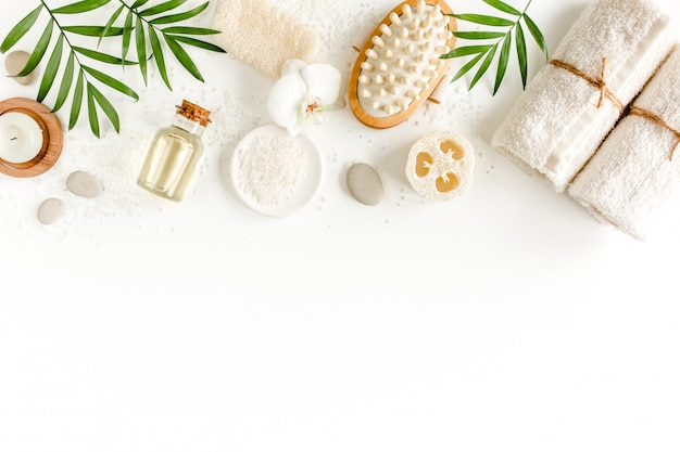 Spa background. natural spa cosmetics products, eco friendly bathroom accessories. flat lay, top view Premium Photo