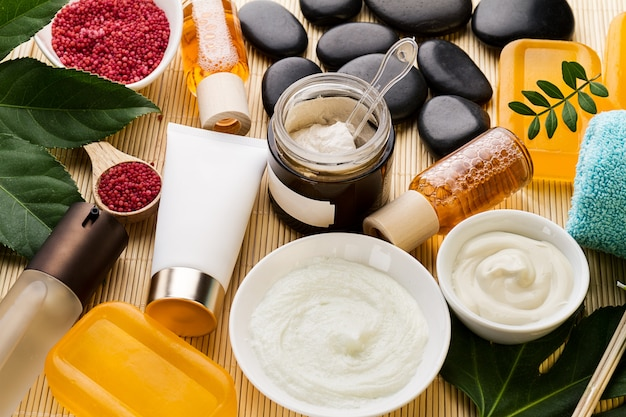 Spa beauty care concept. beautiful various products spa set for care. spa products view from above. Free Photo