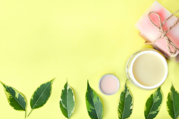 Spa beauty products from above Premium Photo