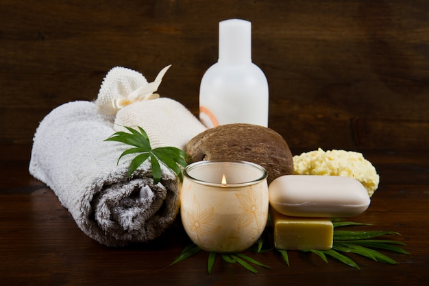 Spa coconut products on wood Premium Photo