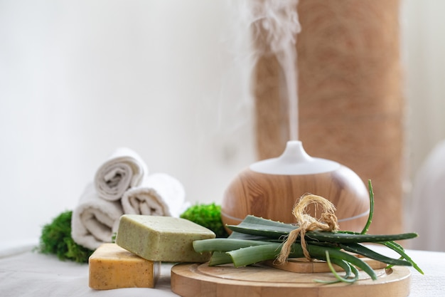 Spa composition with aromatherapy and body care items. Free Photo