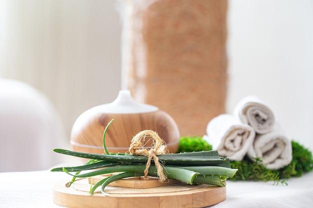 Спа-композиция с ароматом современного масляного диффузора с продуктами по уходу за телом. белые скрученные полотенца и алоэ вера. концепция wellness для тела и здоровья. Бесплатные Фотографии