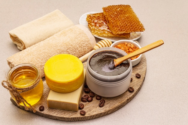 Premium Photo | Spa concept. self care with honey, coffee and turmeric. natural organic cosmetics, homemade product, alternative lifestyle