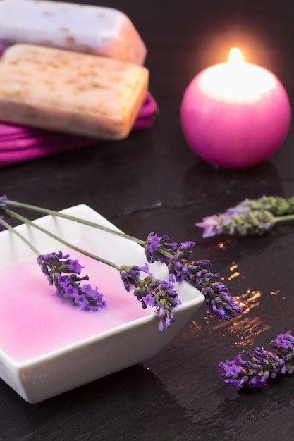 Spa concept with lavender bath foam Premium Photo