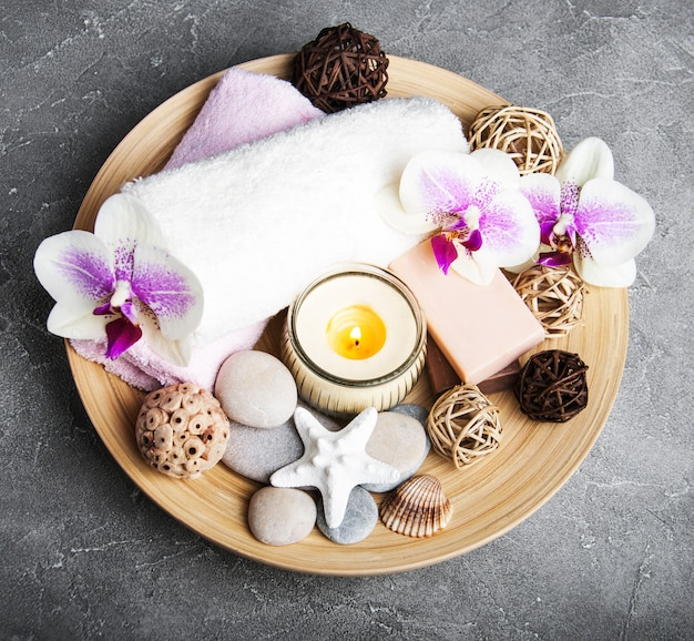 Spa concept with orchid flowers Premium Photo