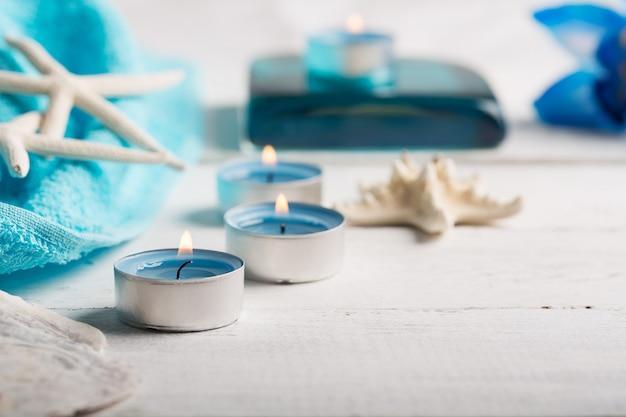 Spa elements with towel Premium Photo