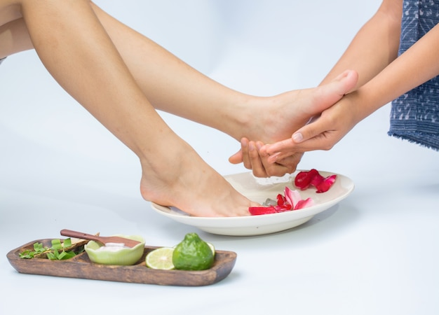 Spa and foot massage Premium Photo