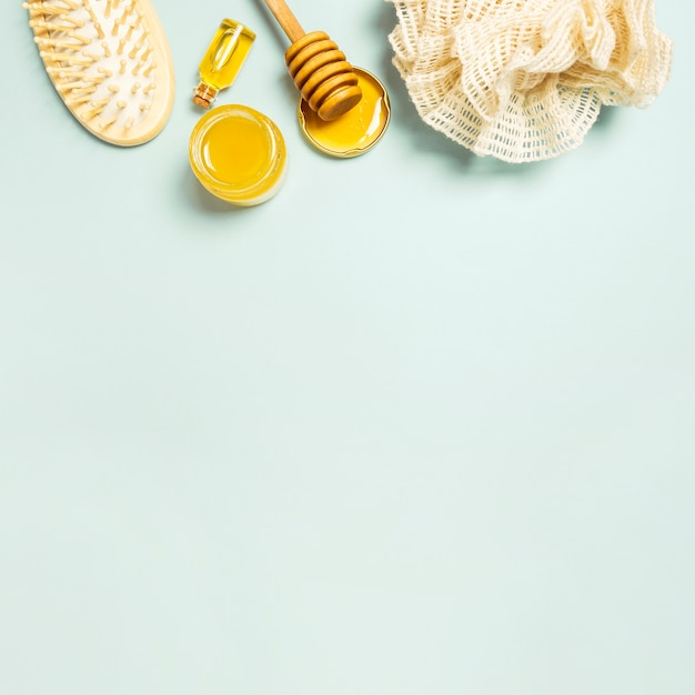 Spa ingredient and spa equipment on plain background Free Photo