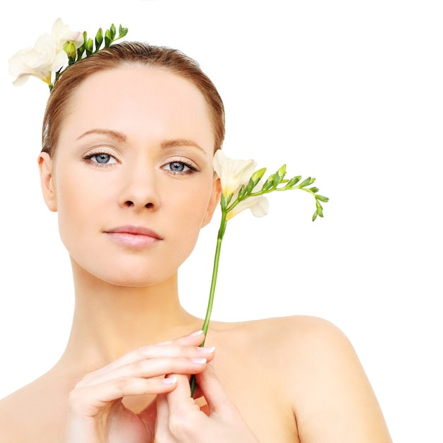 Spa model - young face, clean skin Premium Photo
