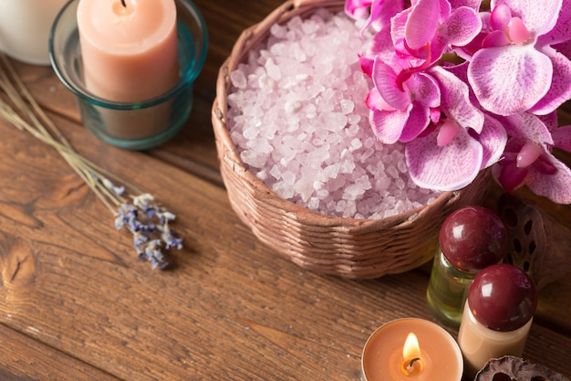 Spa products with orchids Premium Photo