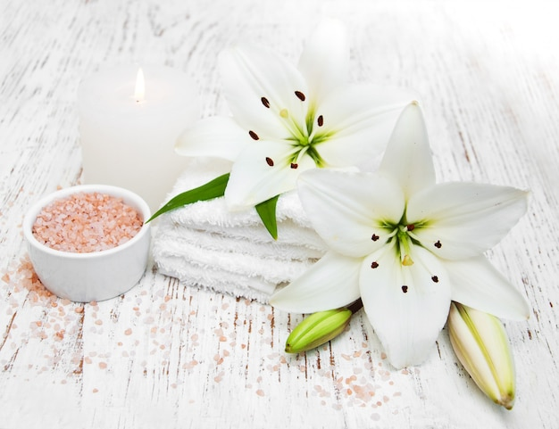 Spa products with white lily Premium Photo
