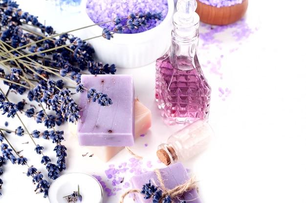 Spa set with lavender Premium Photo