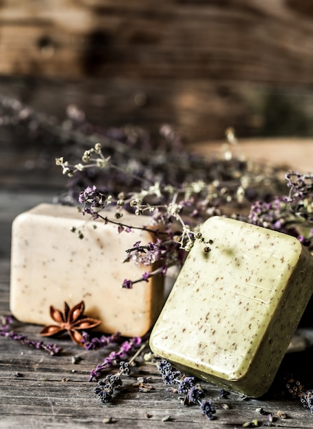Spa soap on wooden background Free Photo