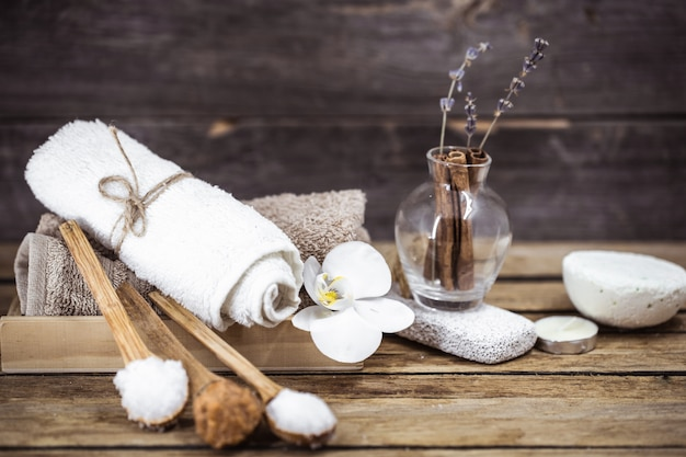 Spa still life on a wooden background Free Photo