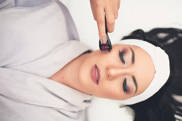 Spa treatment skincare face. face professional massage. health facial masseur. Premium Photo