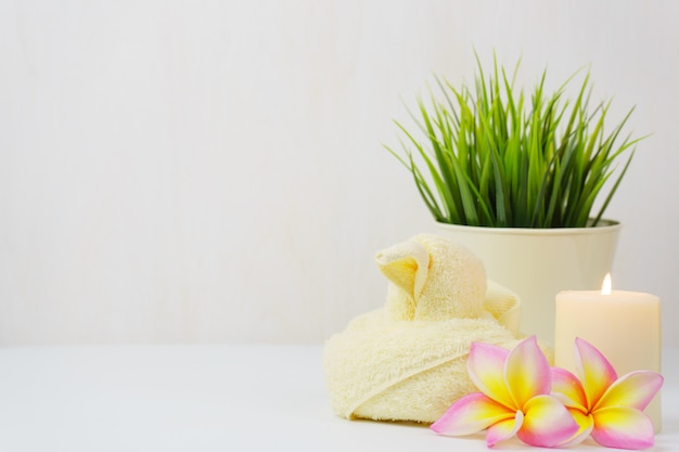 Spa wellness set. beauty and fashion set on the white table. Premium Photo