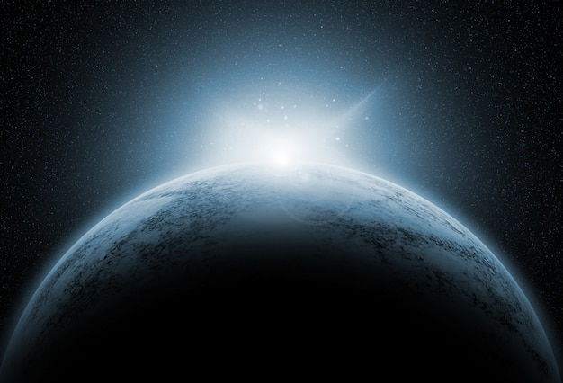 Space background with fictional planets Free Photo