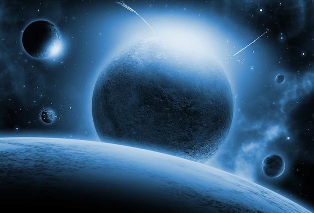 가상의 행성과 우주 배경 무료 사진