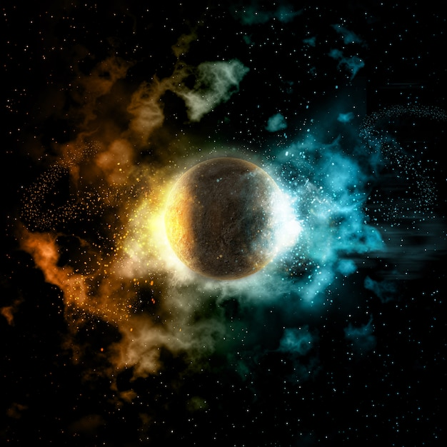 Space background with fire and ice planet Free Photo