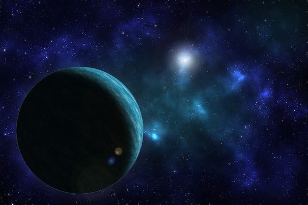 Space background  with planet. Premium Photo