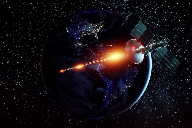 Space military satellite, a weapon in space shoots a laser against the wall of the earth. attack, technology, space war. mixed medium, copy space. image furnished by nasa. Premium Photo