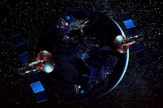 Space satellite with antenna and solar panels in space against the wall of the earth. telecommunications, high-speed internet, space exploration. mixed medium. image furnished by nasa Premium Photo