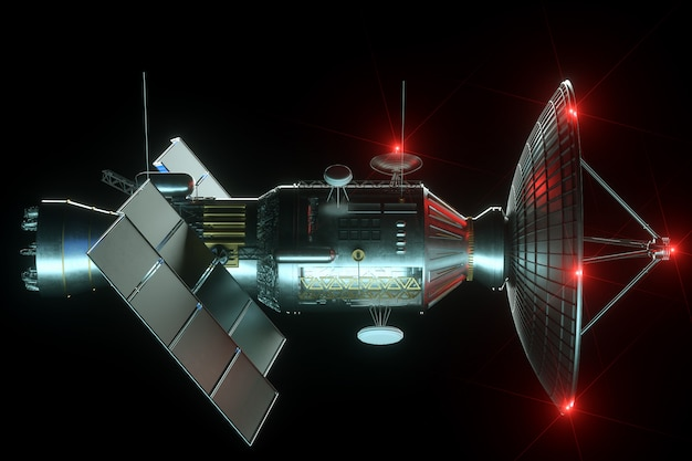 Space satellite with dish antenna and solar panels isolated on black wall. telecommunications, high-speed internet, sounding, space exploration. 3d render, 3d illustration, copy space. Premium Photo