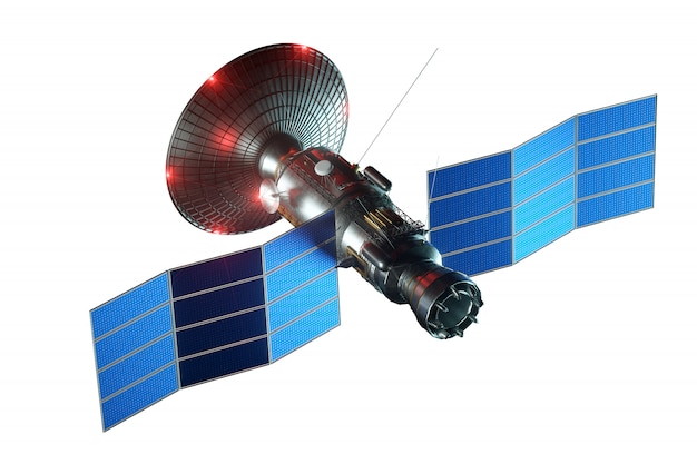 Space satellite with dish antenna and solar panels isolated on a white wall. telecommunications, high-speed internet, sounding, space exploration. 3d render, 3d illustration, copy space. Premium Photo