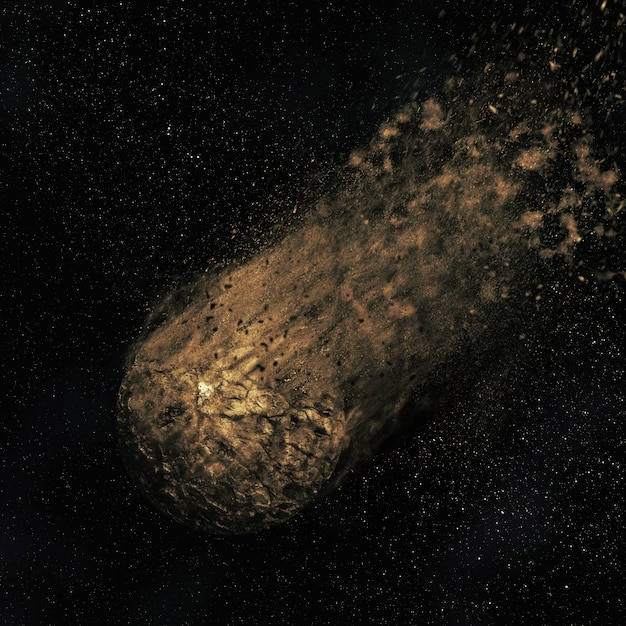 Space scene with an asteroid Free Photo