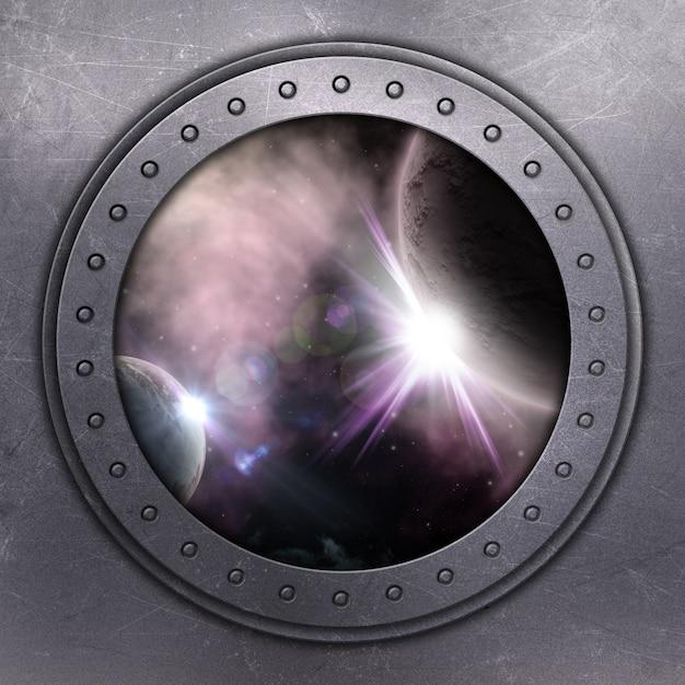 3d визуализации отверстие порта смотрит на пространстве Бесплатные Фотографии