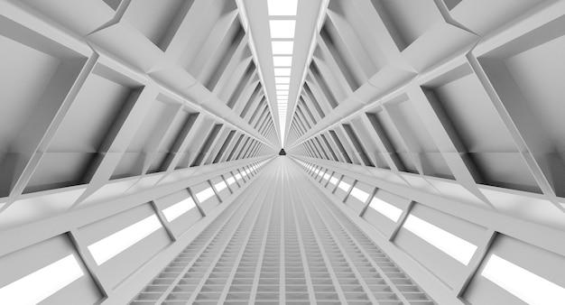 우주선 복도, 터널, 빛. 공상 과학, 과학 개념 프리미엄 사진