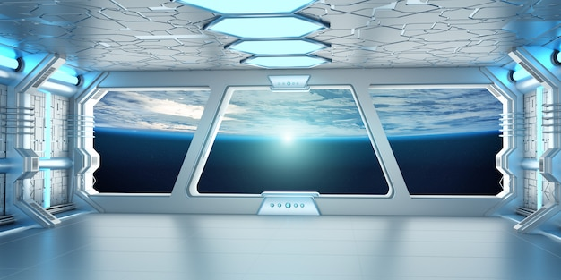 Spaceship interior with view on the planet earth 3d rendering Premium Photo