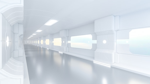 Spaceship or science lap, sci-fi corridor white color Premium Photo