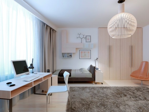 Spacious modern bedroom design for a teenager with a work area and wardrobe. Premium Photo