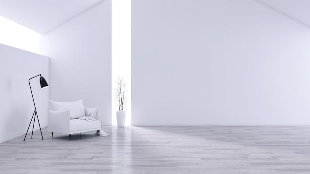 Spacious modern and minimalis living room, black & white interior Premium Photo