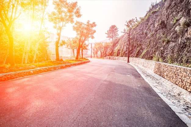 Spacious road at dawn Free Photo