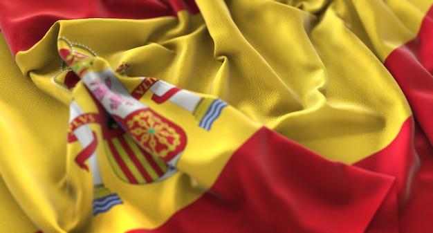 Bandiera della spagna increspato splendidamente sventolando macro close-up shot Foto Gratuite