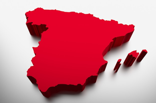 3d Map Of Spain.Spain Map 3d Illustration Photo Premium Download
